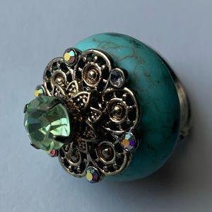 Turquoise & Aqua Citrine Costume Jewelry Ring